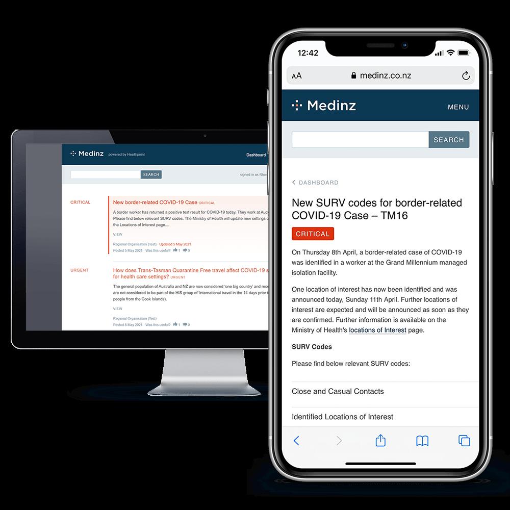 Medinz app with a COVID-19 alert