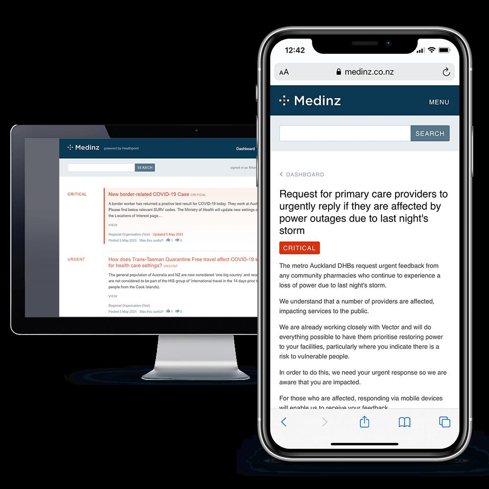 Medinz app with a Storm alert